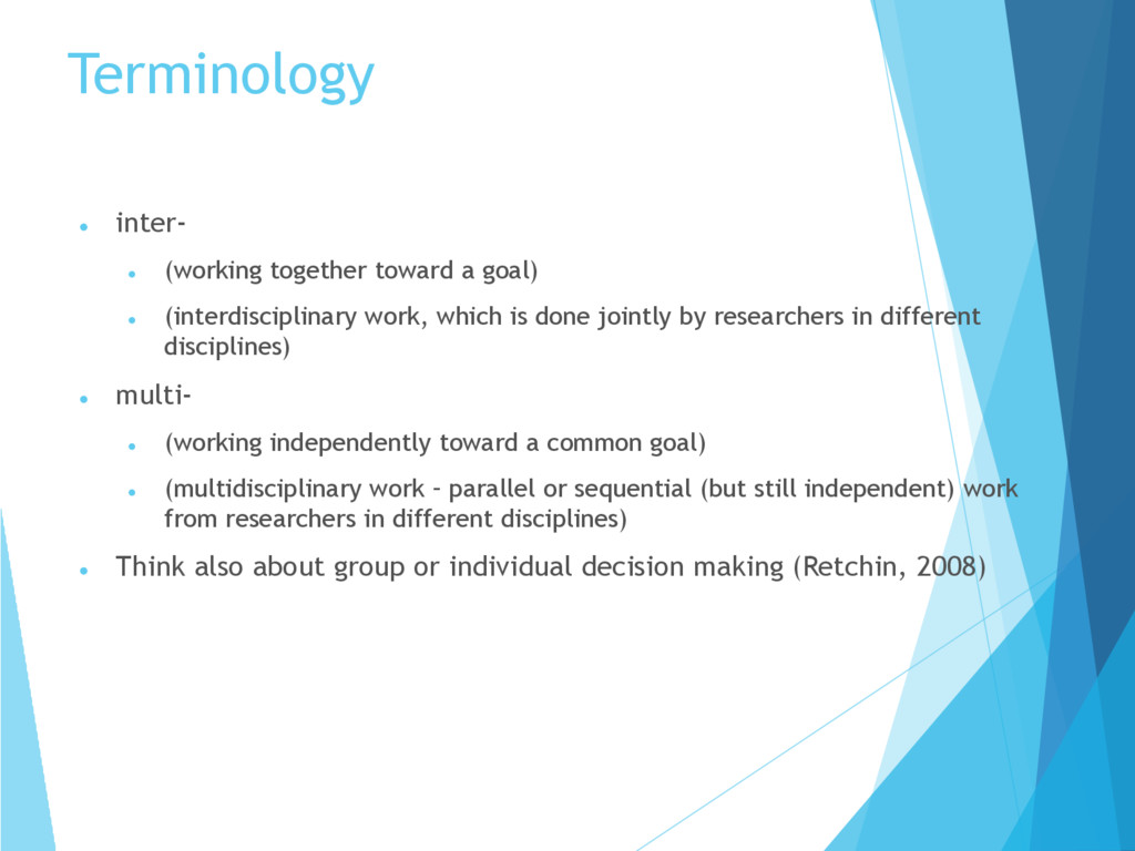 Terminology  inter‐  (working together toward...