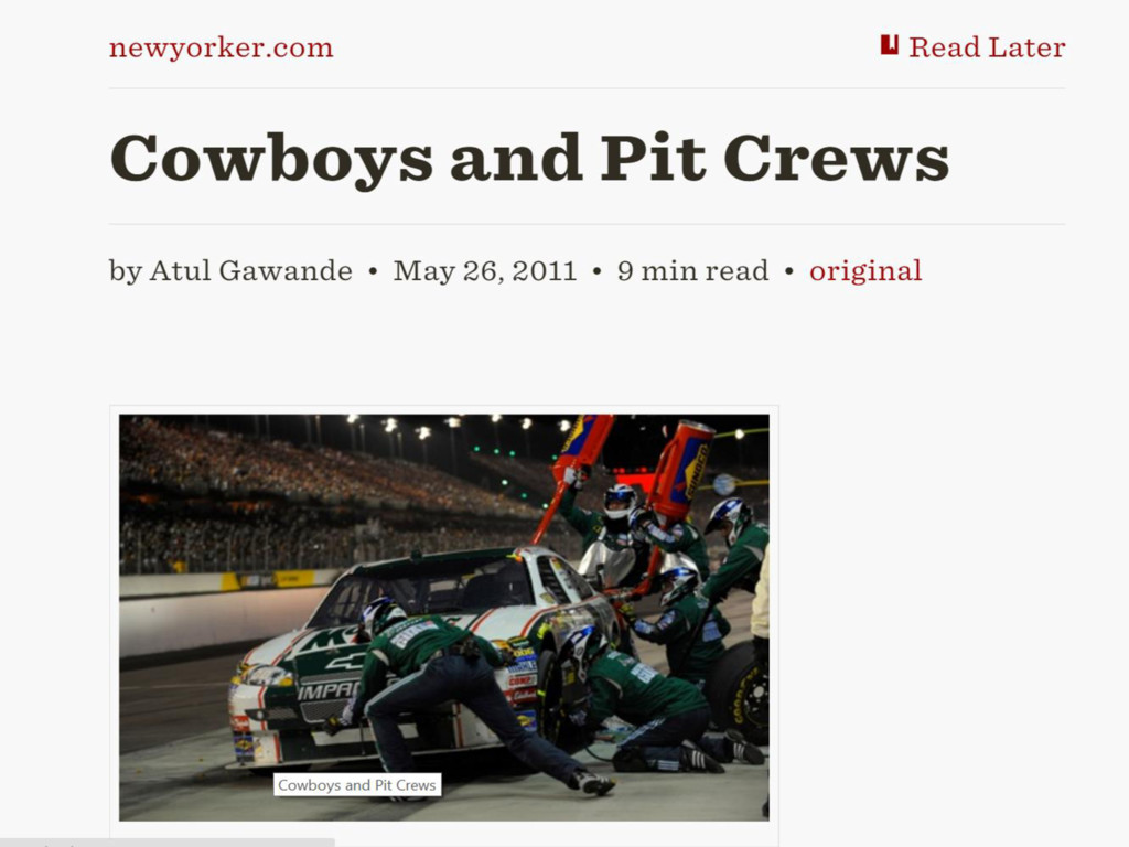 Cowboys and Pit Crews