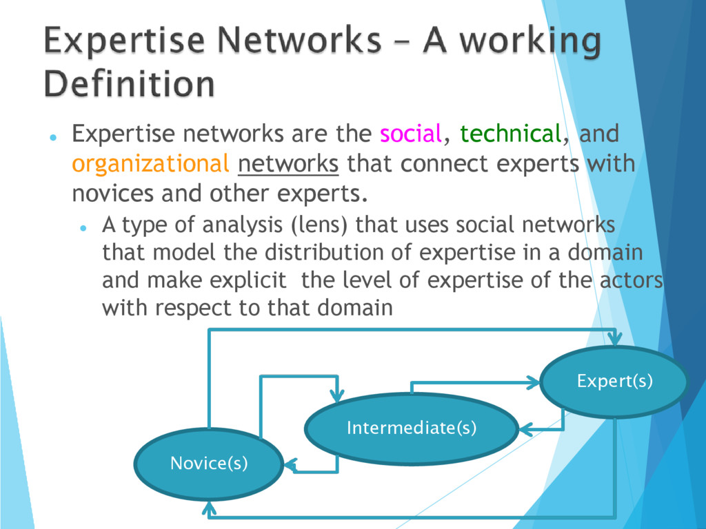  Expertise networks are the social, technical,...