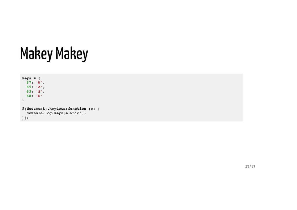 Makey Makey keys = { 87: 'W', 65: 'A', 83: 'S',...