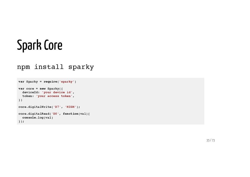Spark Core npm install sparky var Sparky = requ...