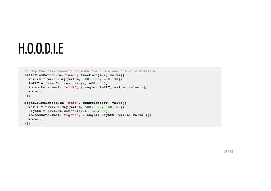 H.O.O.D.I.E // Map the flex sensors to both the...