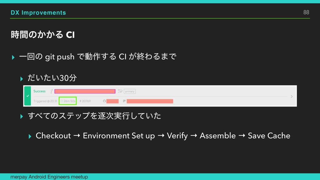 DX Improvements ؒͷ͔͔Δ CI ▸ Ұճͷ git push Ͱಈ࡞͢Δ ...
