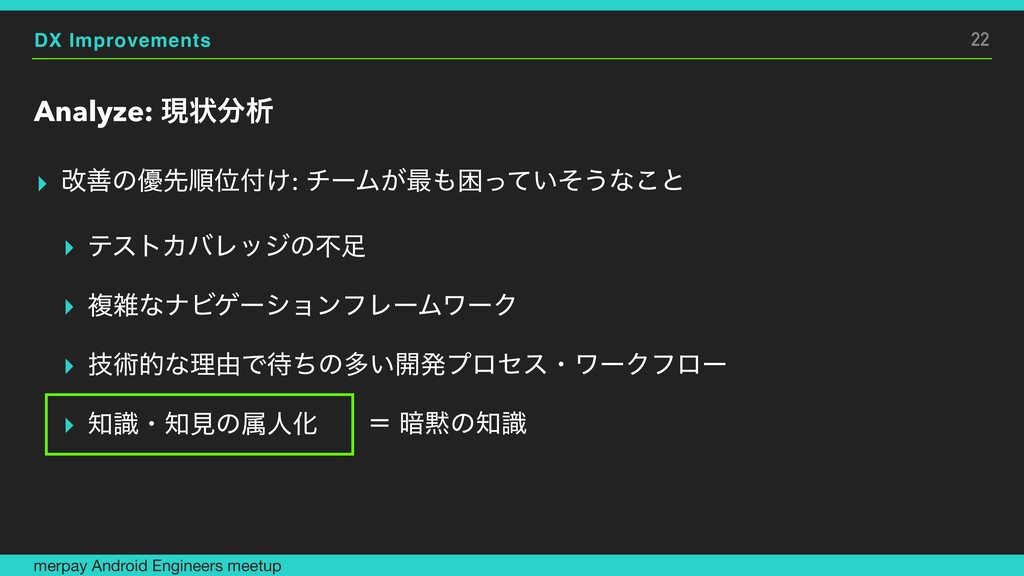DX Improvements Analyze: ݱঢ়ੳ ▸ վળͷ༏ઌॱҐ͚: νʔϜ͕...