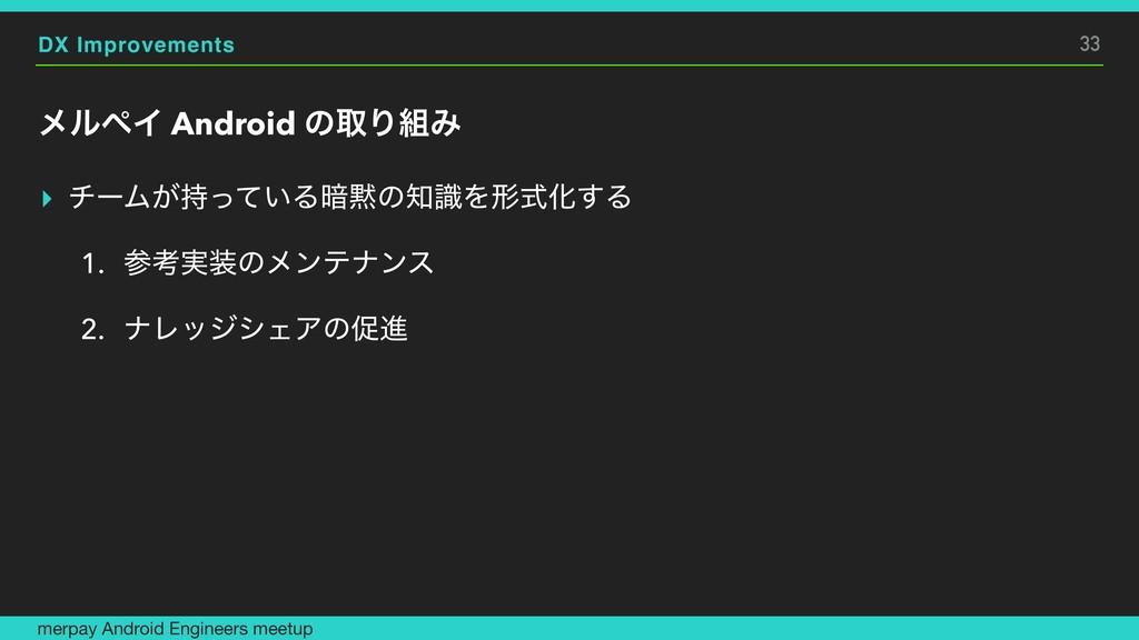 DX Improvements ϝϧϖΠ Android ͷऔΓΈ ▸ νʔϜ͕͍ͬͯΔ҉...