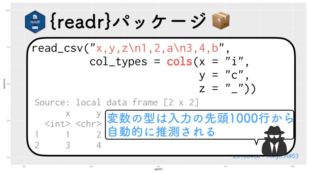 """read_csv(""""x,y,z\n1,2,a\n3,4,b"""", col_types = col..."""
