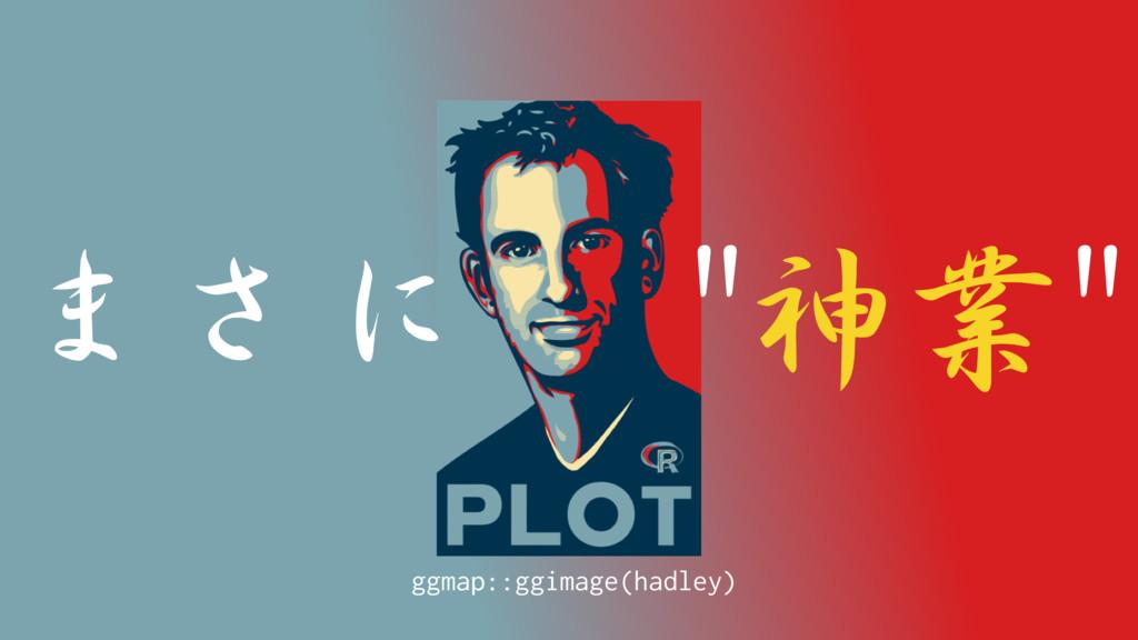 """まさに """"神業"""" ggmap::ggimage(hadley)"""