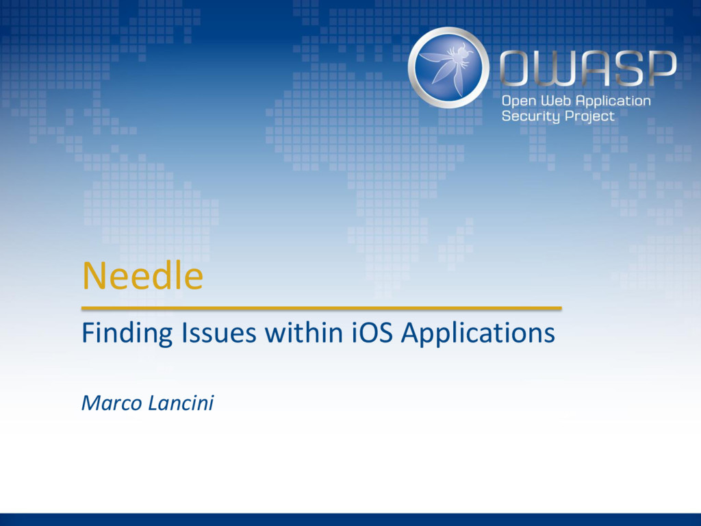 Needle Finding Issues within iOS Applications M...