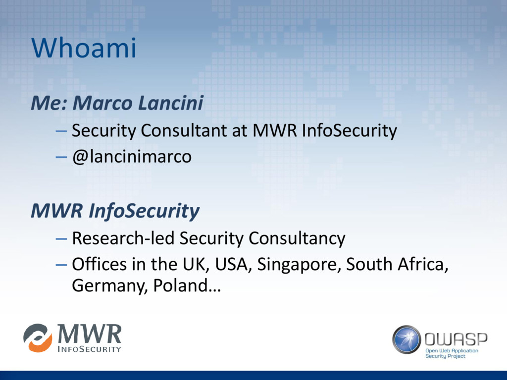 Whoami Me: Marco Lancini – Security Consultant ...