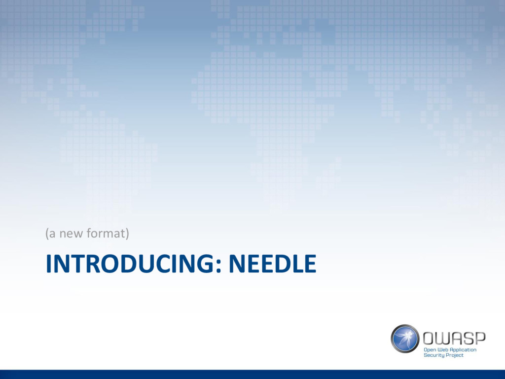 INTRODUCING: NEEDLE (a new format)
