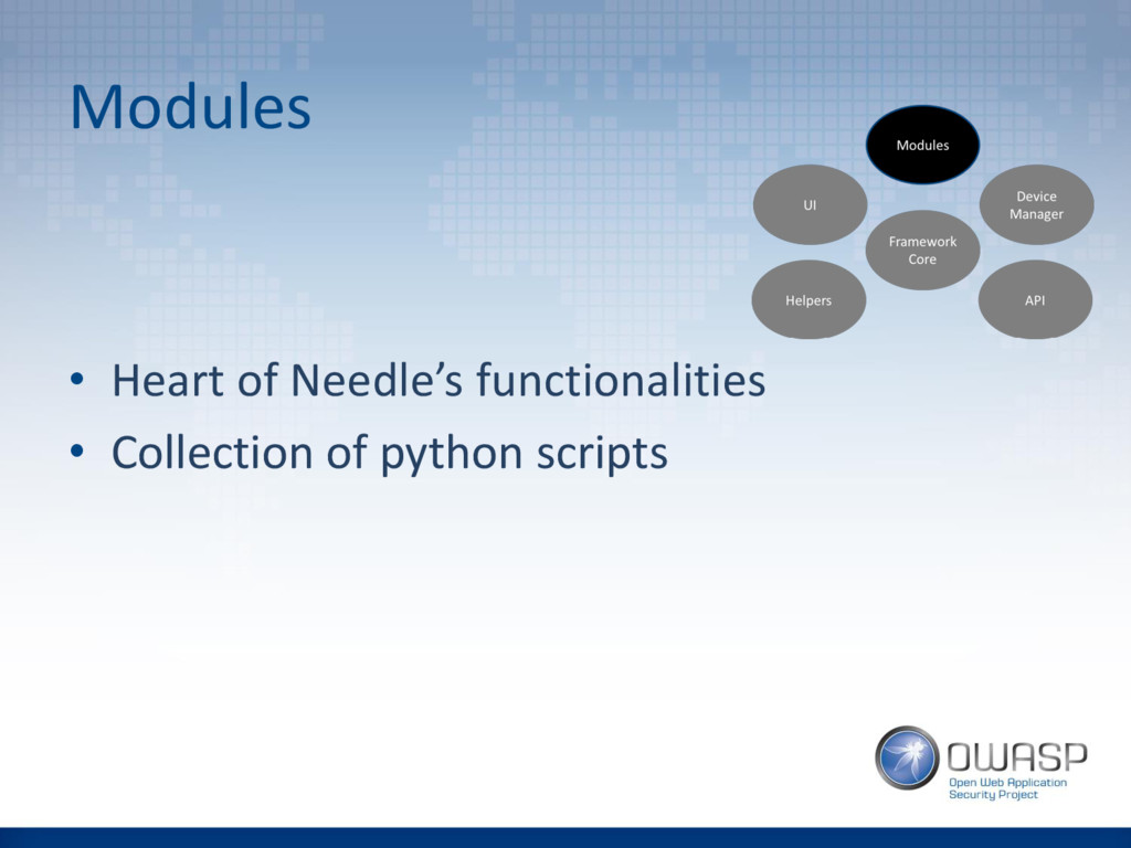 Modules • Heart of Needle's functionalities • C...
