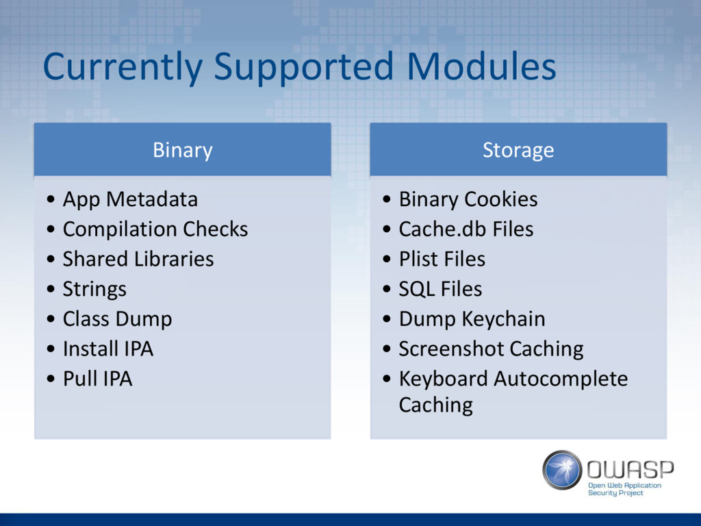 Currently Supported Modules Binary • App Metada...