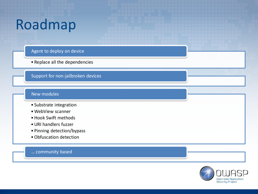 Roadmap • Replace all the dependencies Agent to...