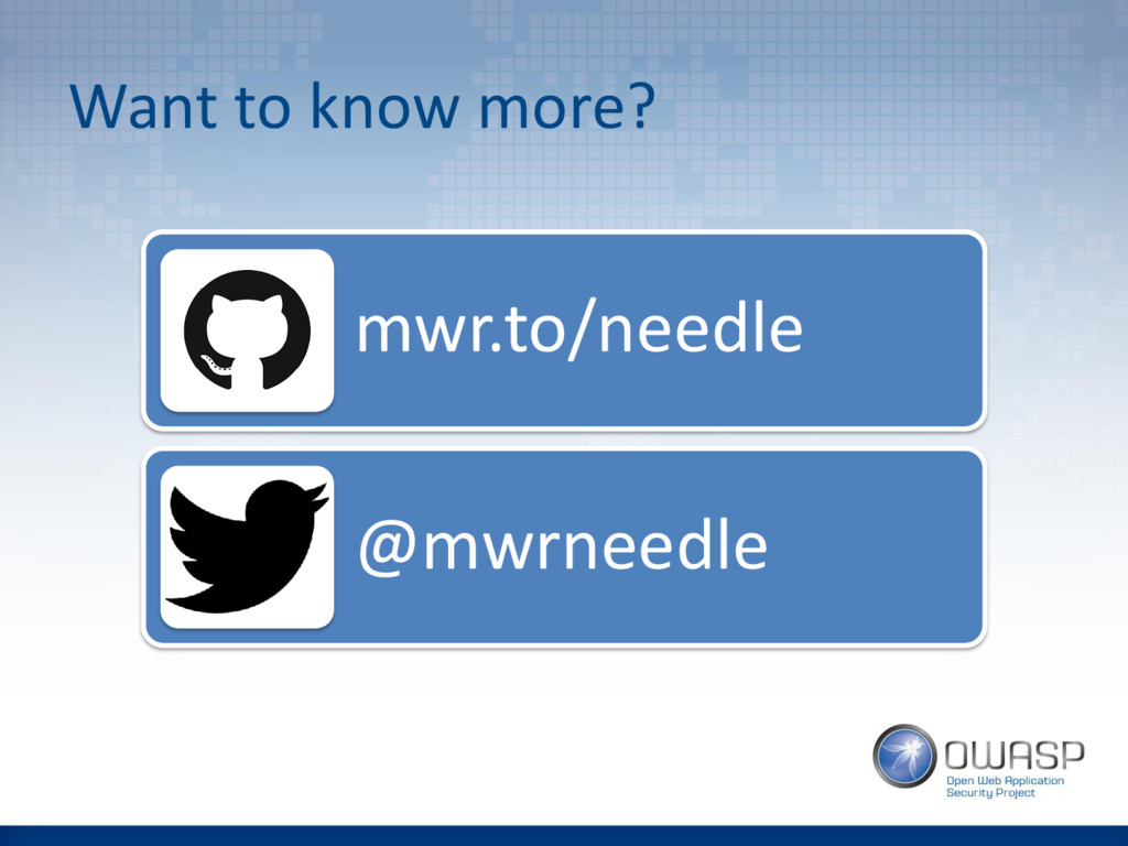 Want to know more? mwr.to/needle @mwrneedle