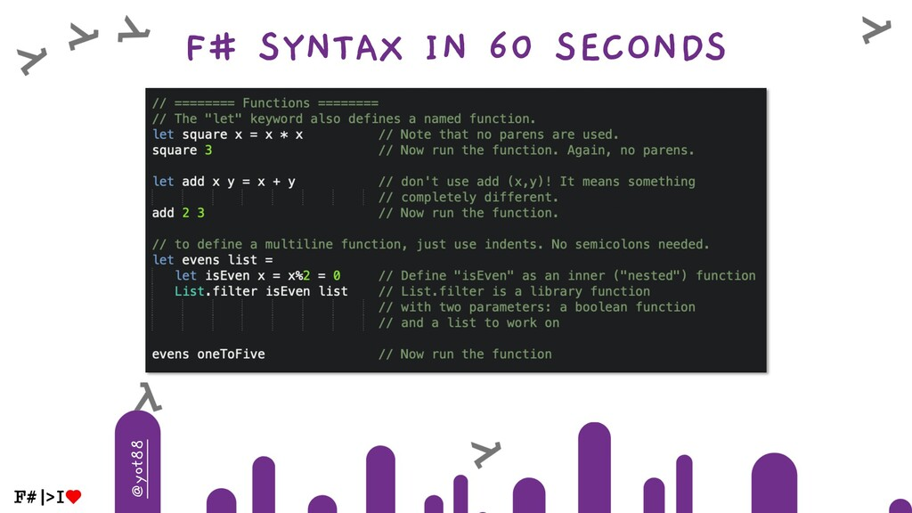 @yot88 F# SYNTAX IN 60 SECONDS