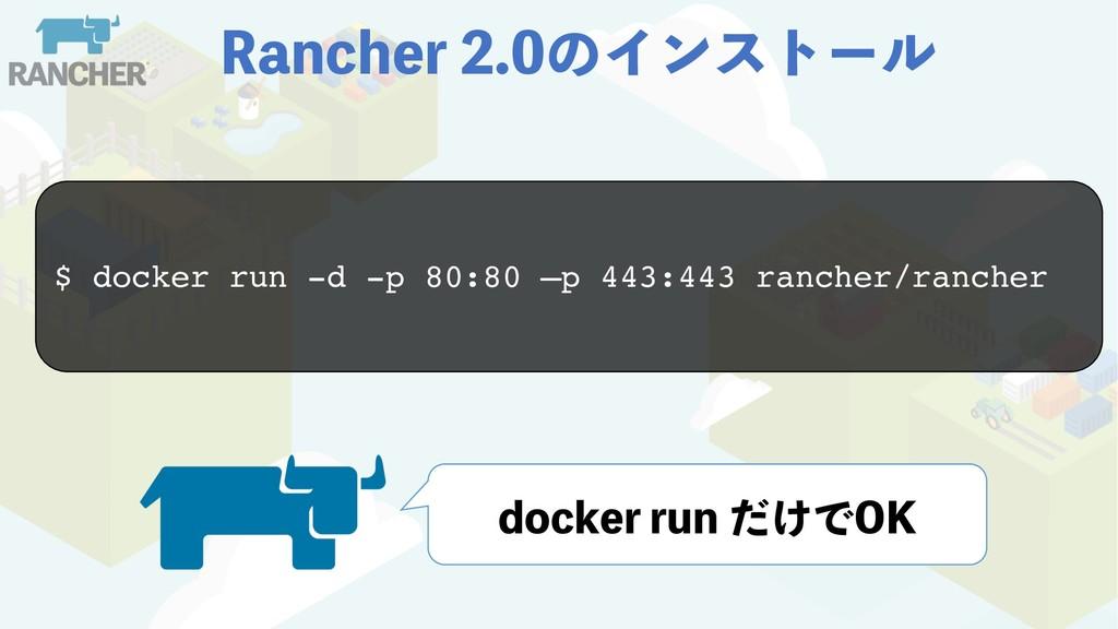 3BODIFSͷΠϯετʔϧ $ docker run -d -p 80:80 –p ...