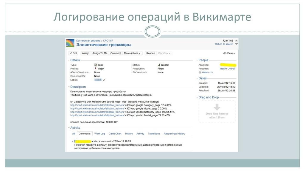 Логирование операций в Викимарте