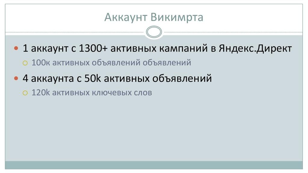 Аккаунт Викимрта  — 1 аккаунт с...