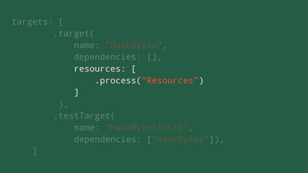 """targets: [ .target( name: """"HankBytes"""", dependen..."""