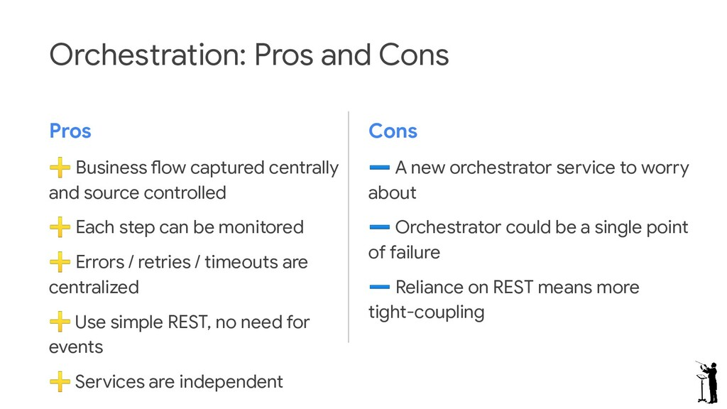 Orchestration: Pros and Cons Pros ➕ Business fl...