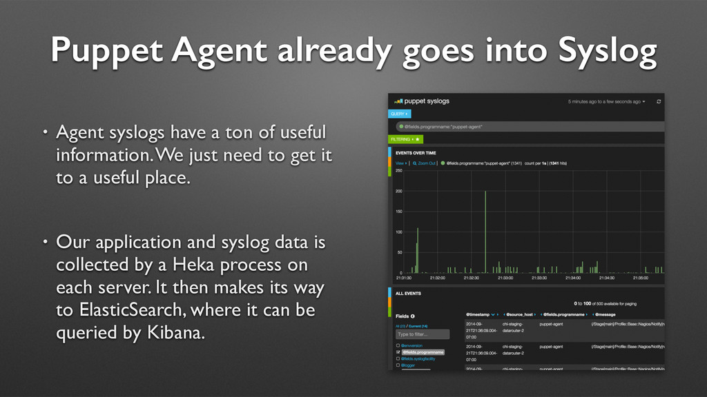 Puppet Agent already goes into Syslog • Agent s...