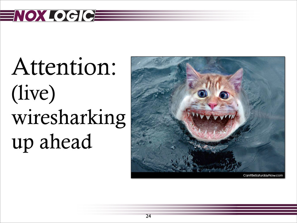 Attention: (live) wiresharking up ahead 24