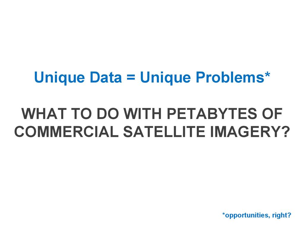 Unique Data = Unique Problems* WHAT TO DO WITH ...