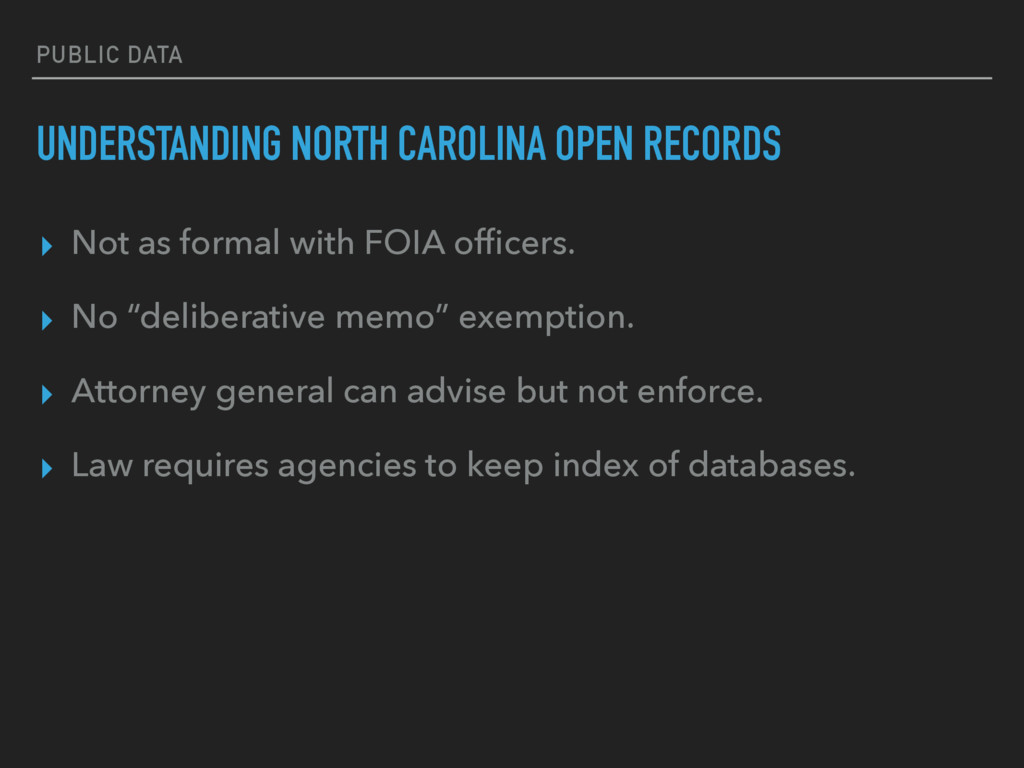 PUBLIC DATA UNDERSTANDING NORTH CAROLINA OPEN R...