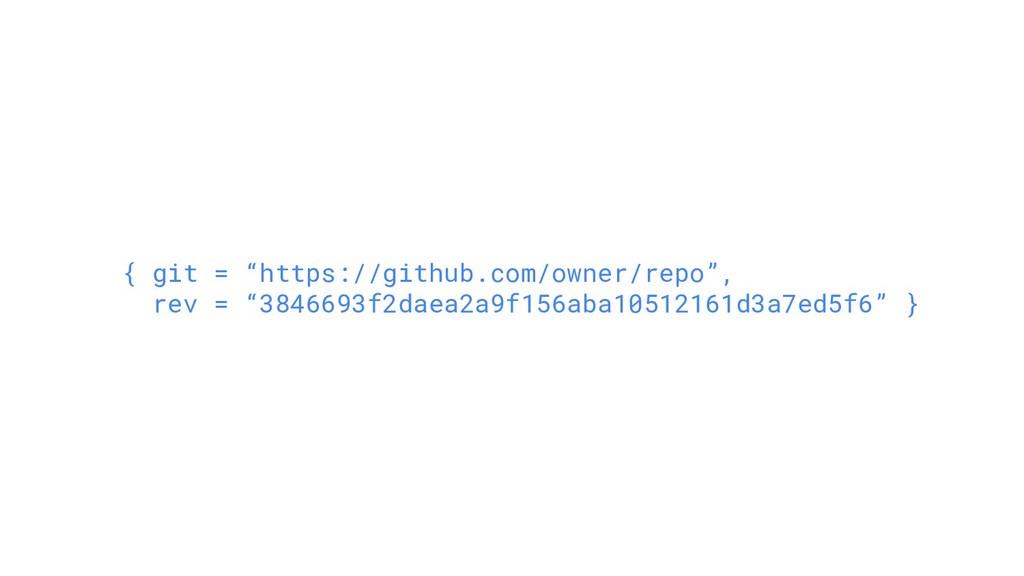 """{ git = """"https://github.com/owner/repo"""", rev = ..."""