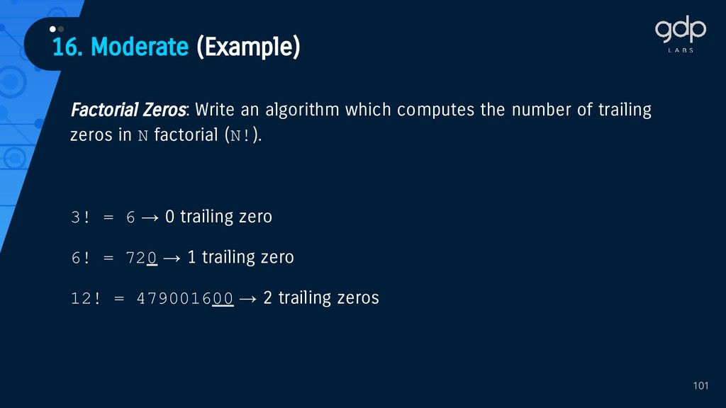 101 Factorial Zeros: Write an algorithm which c...