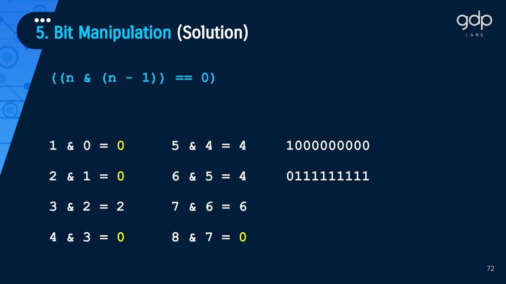 5. Bit Manipulation (Solution) ••• 72 ((n & (n ...