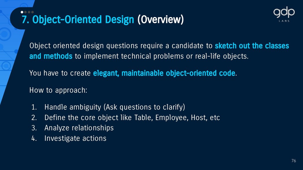 7. Object-Oriented Design (Overview) •••• 76 Ob...