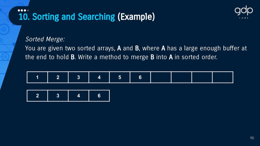 10. Sorting and Searching (Example) •••• 90 Sor...
