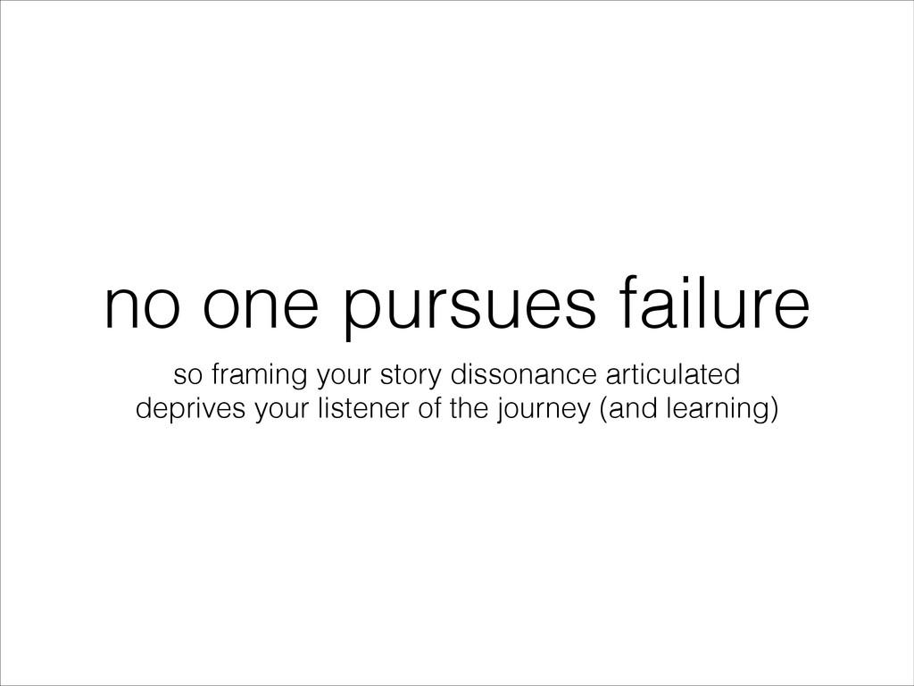 no one pursues failure so framing your story di...