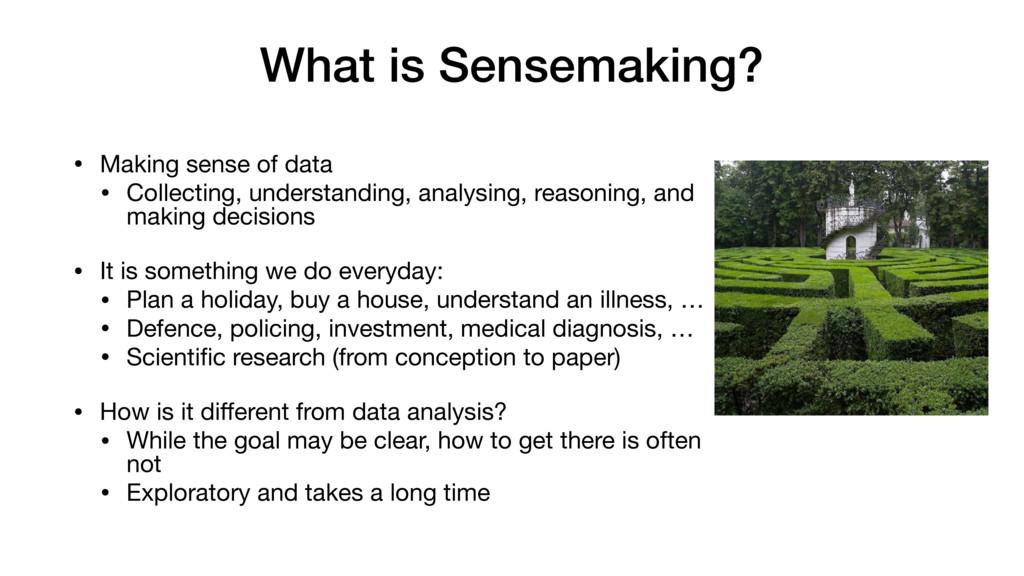 What is Sensemaking? • Making sense of data  • ...