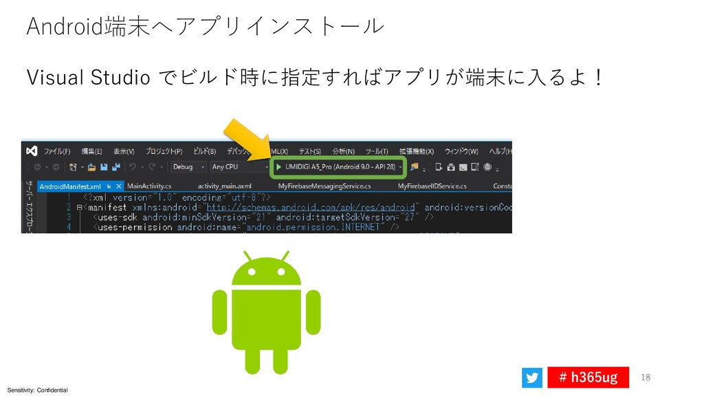 Sensitivity: Confidential # h365ug 18 Android端末...