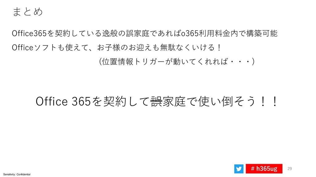 Sensitivity: Confidential # h365ug 29 まとめ 29 Of...