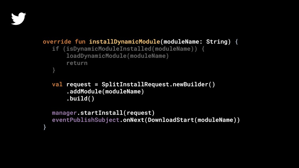 override fun installDynamicModule(moduleName: S...