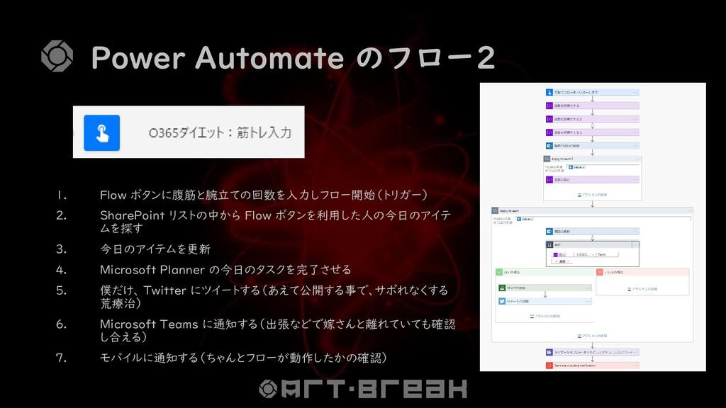 Power Automate のフロー2 1. Flow ボタンに腹筋と腕立ての回数を入力しフ...