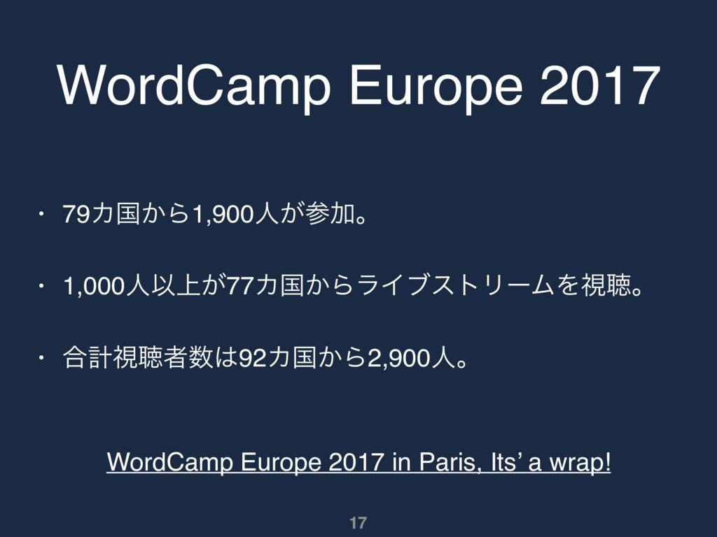 WordCamp Europe 2017 • 79Χࠃ͔Β1,900ਓ͕Ճɻ • 1,000...