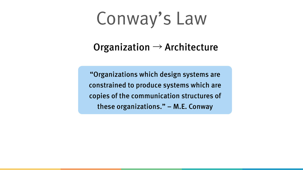 """Conway's Law """"Organizations which design system..."""
