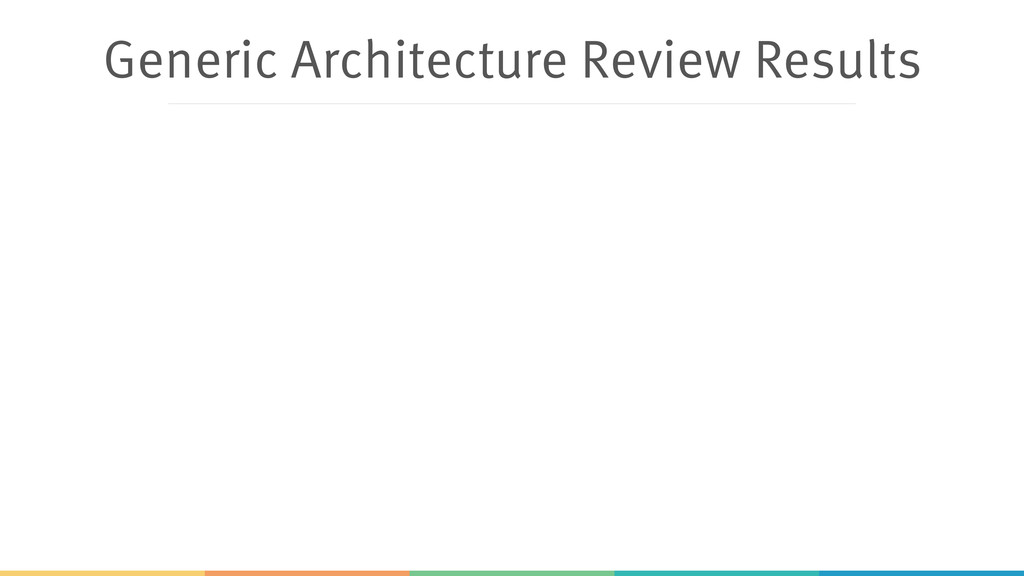 Generic Architecture Review Results