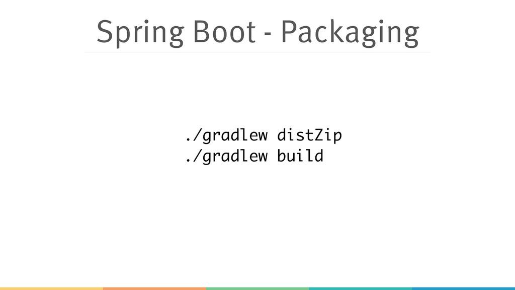 Spring Boot - Packaging ./gradlew distZip ./gra...