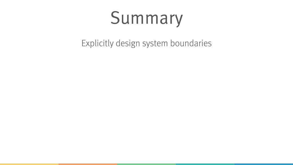 Explicitly design system boundaries Summary