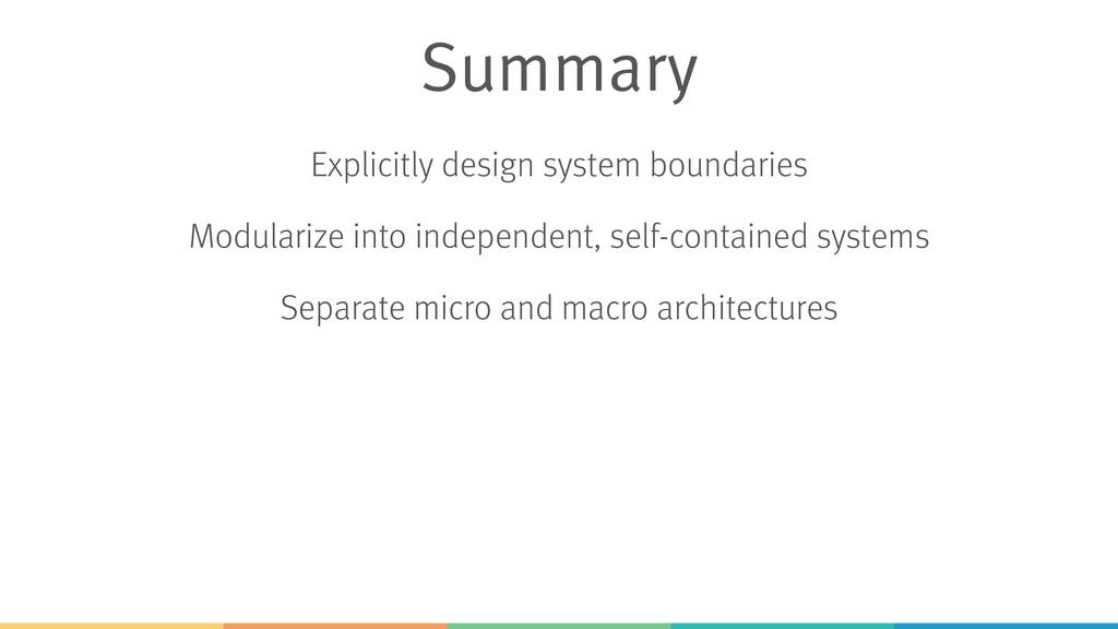 Explicitly design system boundaries Modularize ...