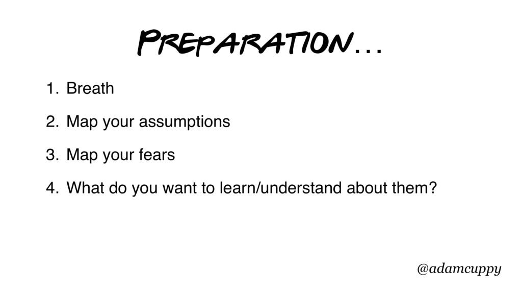 @adamcuppy Preparation… 1. Breath 2. Map your a...