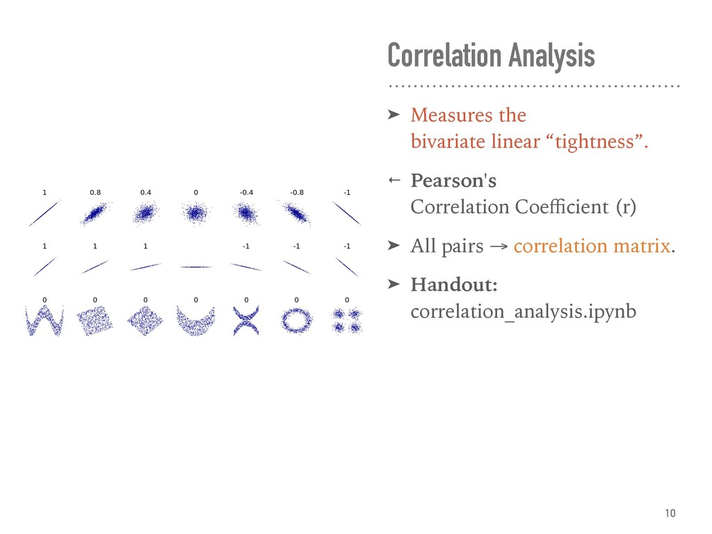 Correlation Analysis ➤ Measures the bivariate l...