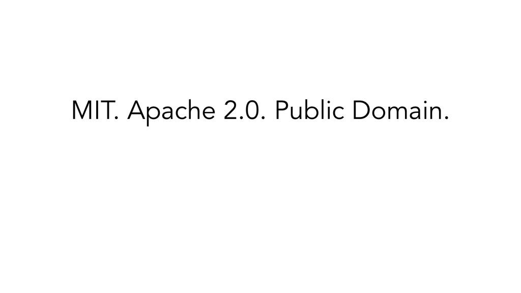 MIT. Apache 2.0. Public Domain. ✓