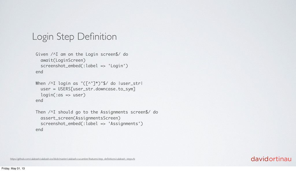 Login Step Definition Given /^I am on the Login ...