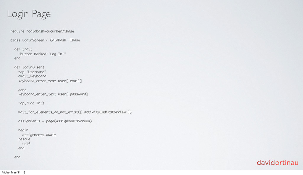 Login Page require 'calabash-cucumber/ibase' cl...